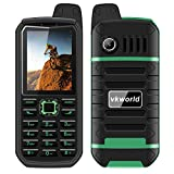 """Vkworld Stone V3 Plus Mobile Phone 2.4"""" Waterproof Shockproof Dustproof Sim-Free Cellphone with Big Button, Strong Signal Anti-Low Temperature 3000mAh Long Standby Dual SIM GSM (Green)"""