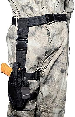 Airsson Pistola Ajustable Holster Militar Táctica del Muslo de Airsoft con el Sostenedor de la Bolsa de la Linterna de la Munición