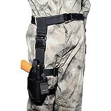 Airsson Regolabile Goccia Gamba Fondina Pistola Softair Militare Tattico Coscia Holster (Nero, Per mano destra) - Militare Doppio Magazine Pouch