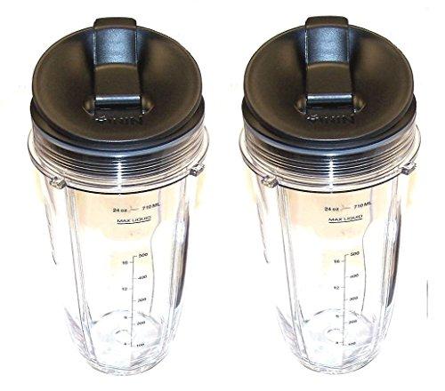 Sduck Ersatzteil für Nutri Ninja Blender Regular Two 625 ml Becher & Sip & Seal Deckel mit Markierungen zum Messen für 900W 1000W Auto-iQ und Duo-Mixer, Nutri Ninja Mixer-Zubehör