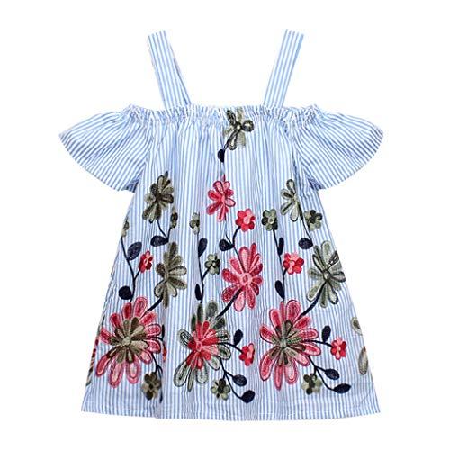 YWLINK MäDchen Off Schulter Kurze ÄRmel Mini Kleiden Sling Kleid Blumenstickerei Streifen Süß Sommer Party Prinzessin Kleider(Blau,90) (Schneewittchen-kostüme Für Jugendliche)