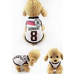 Ropa para Perros Pequeños, Jersey Chaleco Deportes Suave Transpirable del Perros Gatos Cachorros Camisa del Animal Doméstico de Fútbol Copa del Mundo para Verano Al Aire Libre -Germany,M