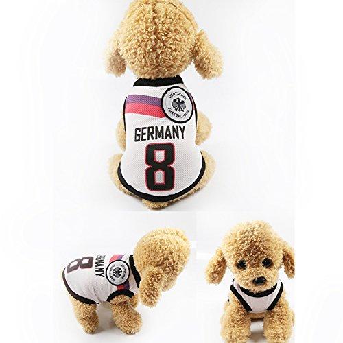 Hunde,Hunde Trikot Fußball Jersey T-Shirt für Hunde Katzen Kostüme Haustier Weltmeisterschaft Weihnachtsmannkostüm Kleidung Haustierhundekleidung Deutschland (Kostüm Diy Leicht)