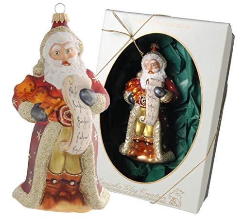 Krebs Glas Lauscha - Weihnachtsmann Sortiment - Weihnachtsbaumschmuck - Weihnachtsmänner - Figuren (mit Bär und Liste)