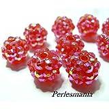 Apprêt 10 perles shambala rose grenat 12 par 14mm
