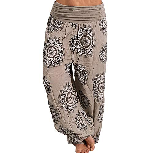 Harem Damen Jeans (Vertvie Damen Hosen Lang Bedrucken Pumphose Haremshose Sommerhose Yogahose Aladinhose Baggy Harem Stil mit Elastischen Bund (EU 48/Etikettengröße 4XL, Khaki 4))