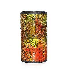 Idea Regalo - Candele senza fiamma candele, DFL Vino Rosso Mosaico Vetro Con Led senza fiamma candele con timer, 4 e 8 ore di temporizzatore automatico,batteria, 8,3x15,2 cm (3,25x6 pollici)