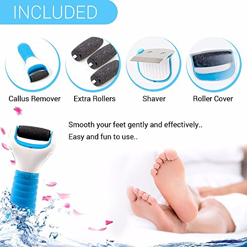 51BNe0j pfL - Electric Pedicure Foot File Callus Remover, Includes 3 Extra Mineral Pumice Stone Rollers, Water Resistant- Foot Care Tool Shaves Dead Hard, Cracked and Rough Skin on Feet, fissure treatment, 100% Money-Back Guarantee of Satisfaction!
