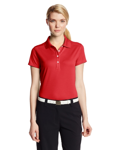 Callaway Women's Solid Double Knit Short Sleeve Polo Shirt, Salsa, Medium (Polo Womens Knit Shirt)