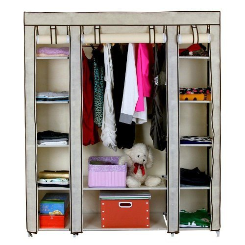 triple-canvas-wardrobe-rail-shelves-new-bedroom-storage-furniture-beige