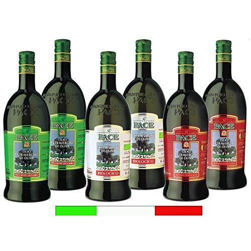Confezione assaggio speciale italia - 2 bottiglie da 1 lt. di olio extravergine di oliva biologico 2 bottiglie da 1 lt. di olio extravergine di oliva denocciolato 2 bottiglia da 1 lt. di olio extravergine di oliva piccante leggero