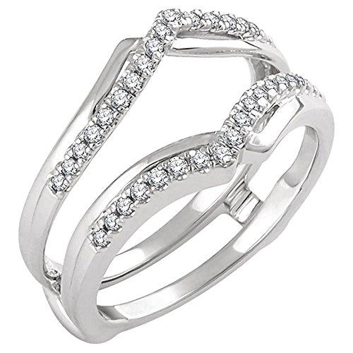 Finto Diamante Fidanzamento Giacca Protezione Anello Wrap Enhancer .25ct 14K oro bianco placcato argento (0.25 Ct Anello Di Fidanzamento Anello Di Fidanzamento)