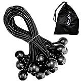 25X elastici con sfera 18cm in Nero | Expander schlingen | tenditore | tenda gummis | Gomma passante di sicurezza–il fissaggio di banner, teloni, padiglione, tenda | Permium qualità inclusa