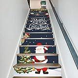 Treppenaufkleber weihnachten Verkleiden Sich Santa Claus 3D Abnehmbare Selbstklebende Treppe Dekoration 18CM*100CM * 13 Teile/Set