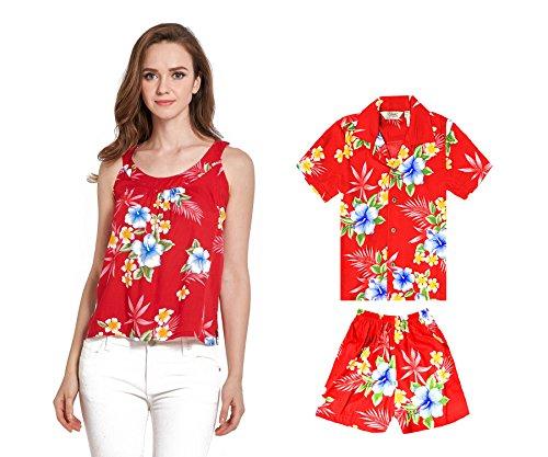 Camiseta-y-camisa-sin-mangas-a-juego-de-madre-hijo-Hawaiian-Luau-en-Hibisco-rojo-Mujer-2XL-Chico-2