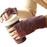 LI&HI Damen Accessory Schnee Winter Fingerhandschuh Spitze Handschuhe Blumen warme Wollhandschuhe HANDSCHUHE STULPEN mit Armstulpen Handwärmer Weihnachtsgeschenke - Mehrere Farben (lila)
