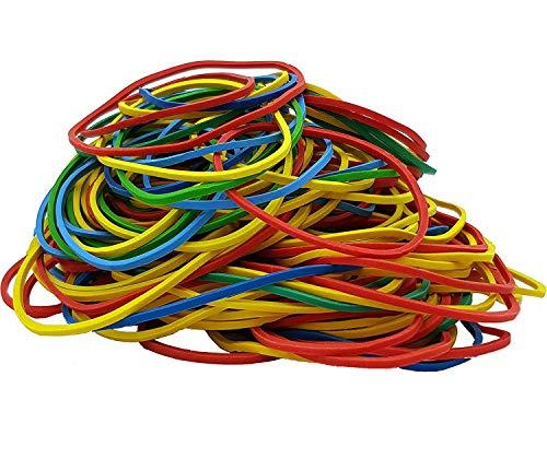 Gummiringe Haushalts-Gummis Gummibänder bunt gemischt farbig sortiert 100g im Beutel für Haushalt, Arbeit, Büro 100 Gramm Beutel