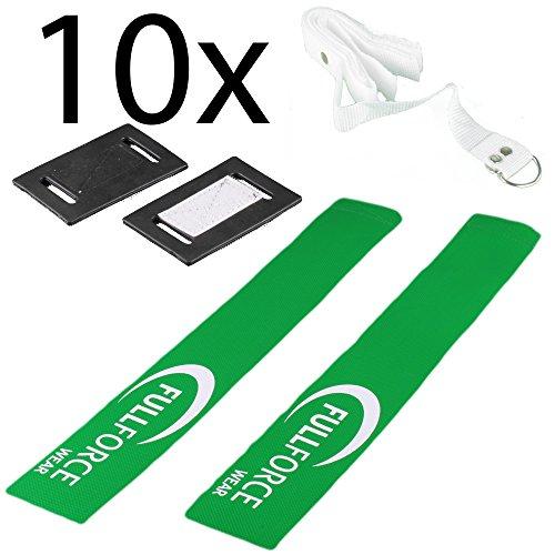 ball Set mit Klettverschluss, 10 Gürtel mit 10 Flag Sets - grün/grün (Flag Football Gürtel)