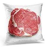 Red Meat Fresh Raw Beef Steak White Top View Entrecote Cow Decorative Pillow Case Home Decor Square 18x18 Inches Pillowc