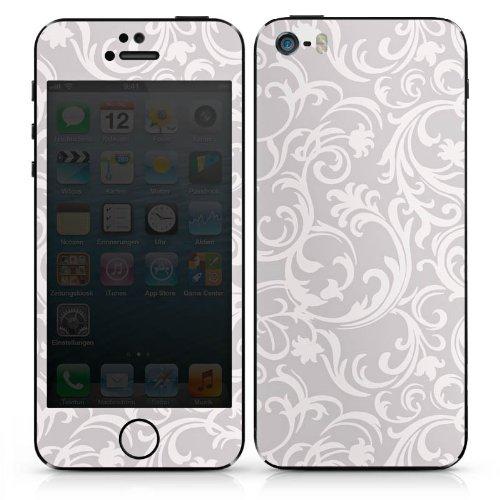 Apple iPhone 5 Case Skin Sticker aus Vinyl-Folie Aufkleber Blumen Grau Abstrakt DesignSkins® glänzend