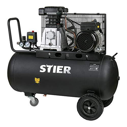 STIER Kompressor LKT 880-10-90, 3000 W, 10 bar, 90 Liter Tank, 81 kg, geeignet für Anwendungen mit hohem Luftbedarf, Reifenwechsel, Bauarbeiten