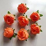 RICISUNG 50pcs Artificial Roses Flower Heads 3cm Wedding Decoration Orange