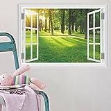 3D-Wandbild Geöffnetes Fenster,3D Wald Gras Wandaufkleber Für Wohnzimmer Klebstoff Gefälschte Fenster Wandtattoos Wohnkultur Abnehmbare Schlafzimmer Möbel Tapete-70X100CM