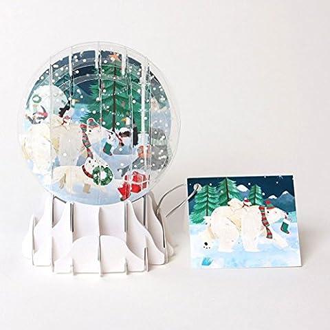 3D Pop up Arctic Tiere Schneekugel Weihnachten Karte