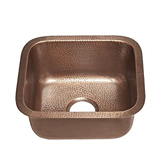 Sinkology SP502-17AC Sisley Undermount Handmade copper Sink 17 In. Bar Prep Sink in Antique copper, Hammered Antique Copper