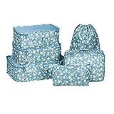 Kleidertaschen Set 6 Packtaschen Reisetaschen in Koffer Wäschebeutel Schuhbeutel für Reise, Seesäcke, Handgepäck und Rucksäcke Kosmetik Aufbewahrungstasche(Blume)