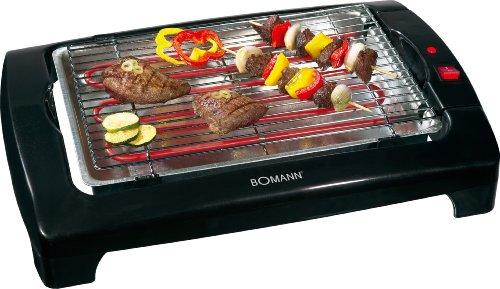 Bomann BQ 1240 CB Barbacoa eléctrica, Parrilla cromada de 35,5 x 24,5 cm, 2000 W, Negro