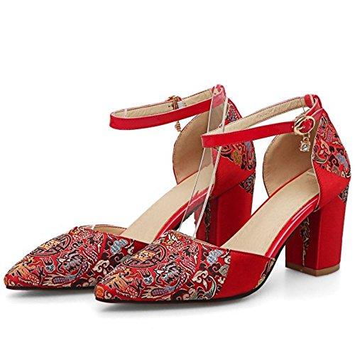 TAOFFEN Damen Elegant Hochzeit Geschlossene Point Toe Pumps Brauts Blockabsatz Sandalen 979 7.5cm Rot