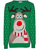 TM Unisexes Santa Baby pour Femme Flocon de Neige Noël Rudolph Pom Pom Nez Pull Rennes US 004 - Vert - S