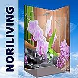 Duschrückwand, Badrückwand, Rückwand, Küchenrückwand - ZEN Orchidee Bambus Blüte Blumen, 2 Platten mit Wunschgröße bis je 150x300cm, kostenloser Zuschnitt auf Ihre exakten Wunschmaße, fugenlos, Bad-Verkleidung, Wandbild, Dekor, Fliesenersatz, schimmelfrei (Alu-Verbundplatte, 2 Platten mit Wunschmaß bis Größe 3)