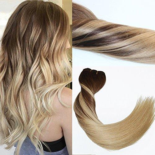 Shangxiu clip in hair, virgin remy, extension per capelli con clip, effetto balayage, sfumature da brune a bionde, extension in veri capelli umani, 120 g