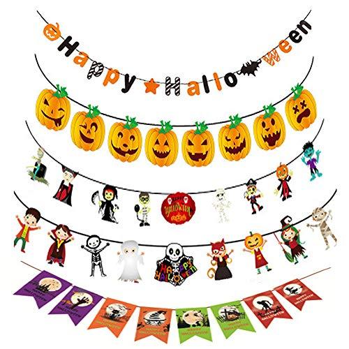 vientiane Halloween Banner Set, 7 Stück Hängen Papier Flagge Bunting Kürbis Wizard Vampir Hexe Totenkopf und Fledermaus für Innen/Draussen Party Festival Halloween ()