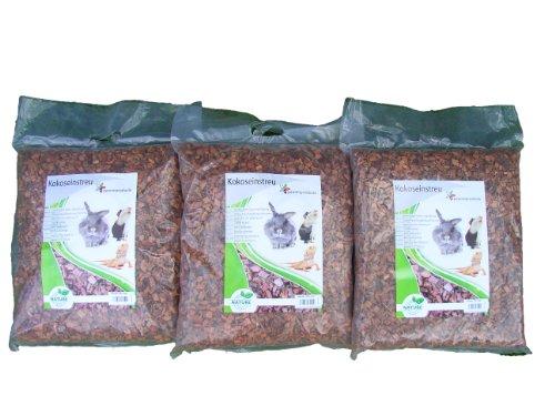 Kokoseinstreu grob 75 Liter (3x 25 Liter) (EUR 0,50/Liter), geeignet als Käfig Bodenbedeckung für Kaninchen, Meerschweinchen, Degus, Ratten und andere Nagetiere, ebenso geeignet für Schlangen, Schildkröten und andere Reptilien (Für Schlangen Ratten)
