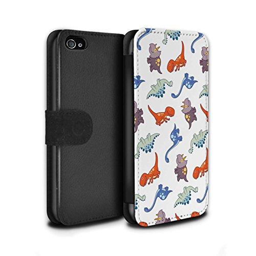 Stuff4® PU-Leder Hülle/Case/Tasche/Cover für Apple iPhone 4/4S / Assortiert Dino Mischen Muster/Karikatur Dinosaurier Kollektion - 4s Iphone Telefon-abdeckungen