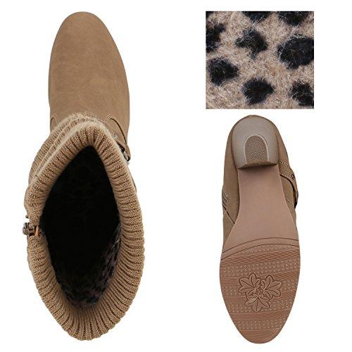 Klassische Stiefeletten Damen Stulpen Strass Stiefel Khaki Leopard