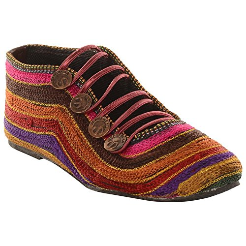 StepIndia Multi Colored embroidery Velvet Ethnic Rajasthani Jaipuri Belly Shoes for women and Girls |Size : IND/UK: 9