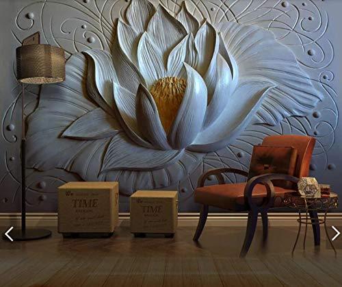 2020 3D 8D Kreative Geprägte Seerose Blume Wandmalerei Fototapete Wohnzimmer Hintergrund Tapetenrolle Blumen Wandbilder-1㎡