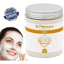 Mascarilla exfoliante facial 250ml con ácido hialurónico. Arcilla blanca natural purificante para piel grasa o