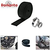 #6: Ramanta™ Silencer Wrap with Clips Bike Exhaust Heat Shield Length 3 Meter for Royal Enfield Classic 500, Black