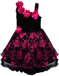 Wish Karo Baby Girls Frock Dress (Pink/red/Gold/Silver-Net)