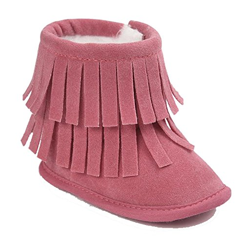 Tefamore Baby Keep Warm Doppelstock-Quasten weichen Sohle Schnee Stiefel weich Krippe Schuhe Kleinkind Stiefel Wassermelone-Rot