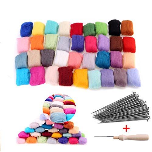 36 Farben Filzwolle Märchenwolle + 60 Felting Nadeln mit Holzgriff Starter Werkzeug Set (Zufällige Farben)