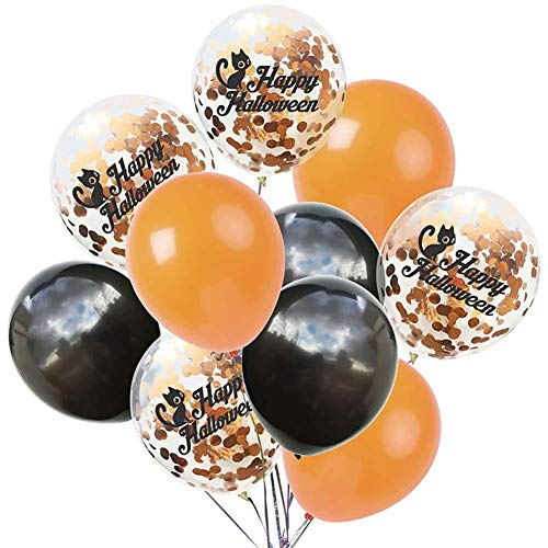 Für Kostüm Niedliche Katzen - Monbedos 10 Stück Konfetti-Luftballons für Halloween, 30,5 cm, Latex-Luftballon-Set, perfektes Halloween-Kostüm, Weihnachten, Party-Dekorationen Katze, niedlich