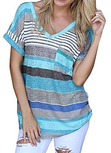 Liqy Women Colourful Striped Summer Short Sleeve V-Neck Blouse Tops Shirt,Striped short sleeves(BLUE,XL)