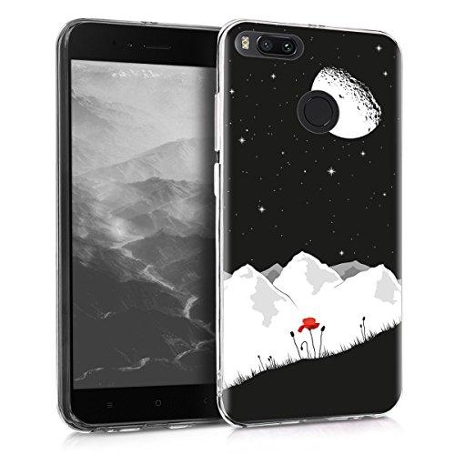 kwmobile Funda para Xiaomi Mi 5X / Mi A1 - Carcasa de TPU para móvil y diseño de Amapola y Cielo en Blanco/Rojo/Negro
