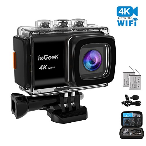 iegeek 4 K 20 MP WIFI Action Kamera 5,1 cm LCD-Bildschirm 170 Weitwinkel mit Eis-30 m Unterwasser wasserdichte Sport-Kamera Ultra HD Camcorder mit Bike Motorrad Helm Zubehör-Kit